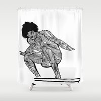 70s Shower Curtains featuring 70s surfer by terezamc.