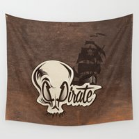 pirate Wall Tapestries featuring Pirate by Tony Vazquez