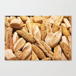 Bread baking rolls and croissants Canvas Print