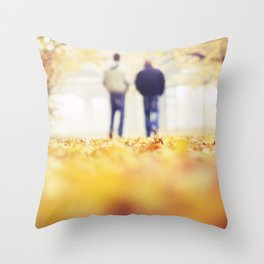 Walking in the Leaves Throw Pillow