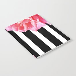 Pink roses on black and white stripes Notebook