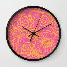 Succulent Stamp Pink & Orange #315 Wall Clock