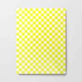 Small Checkered - White and Yellow Metal Print