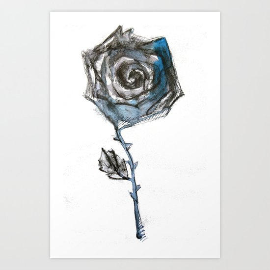 Royal Blue Rose Art Print