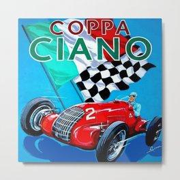 1939 Italian Grand Prix Motor Racing Coppa Ciano Alfa Corse Vintage Poster Metal Print