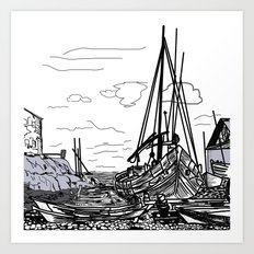 boats on the sea Art Print