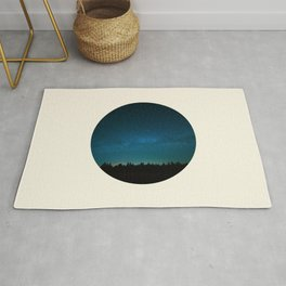 Forest Silhouette Against Milky Way Blue Star Sky Rug