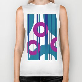 Three Rings pink with turquoise background Biker Tank