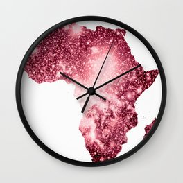 Pink Sparkle Galaxy Africa Wall Clock