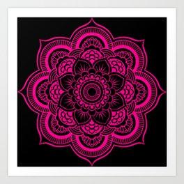 Mandala Flower Pink & Black Art Print