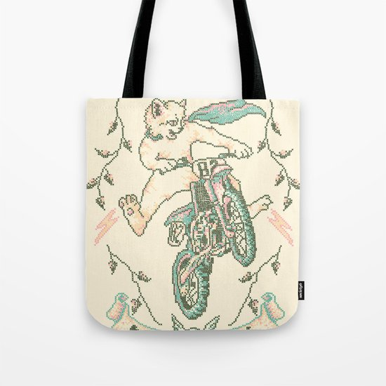Motocross-Stitch Kitteh Tote Bag