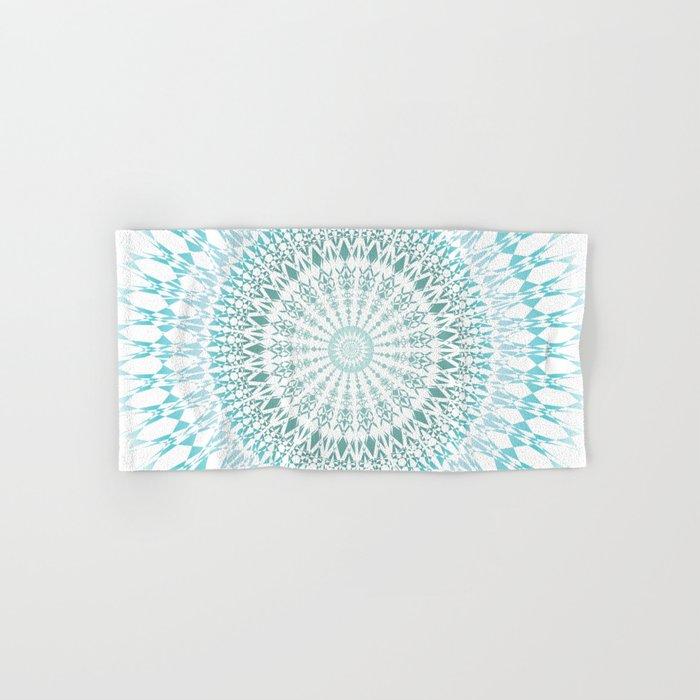 Turquoise White Mandala Hand & Bath Towel