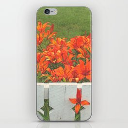 White Picket Fence / Daylilies / Flowers iPhone Skin