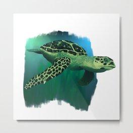 Green Sea Turtle Painting Metal Print