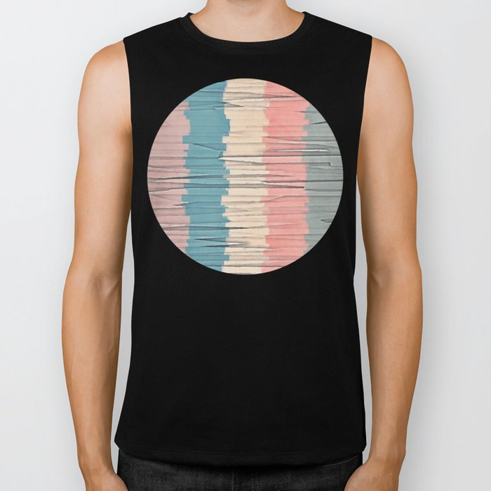 Colorful Grunge Stripes Biker Tank