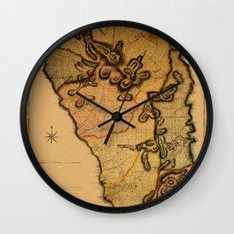 Map Of Dominica 1776 Wall Clock