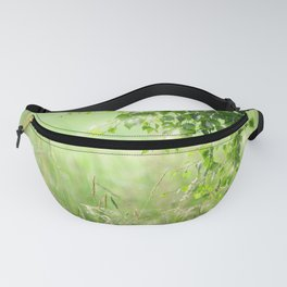 Birch leaves with Green Grass Fanny Pack