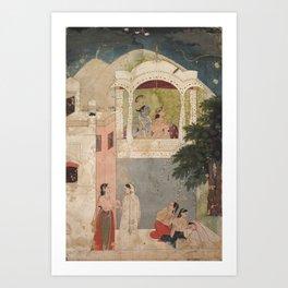 Radha and Krishna Seated on a Balcony - 18th Century Classical Hindu Art Art Print