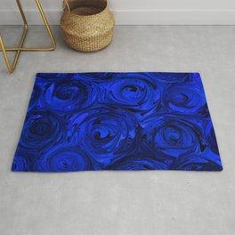China Blue Rose Abstract Rug