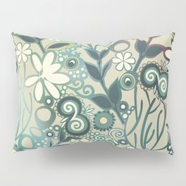 Detailed square of green and ocre floral tangle Pillow Sham