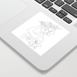 Minimal Line Art Woman with Flowers VI Sticker