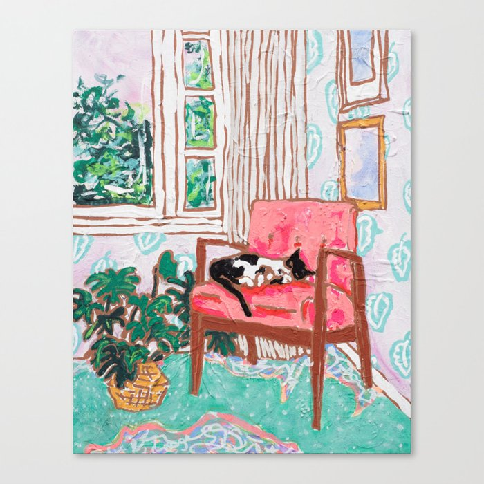 Little Naps - Tuxedo Cat Napping in a Pink Mid-Century Chair by the Window Leinwanddruck
