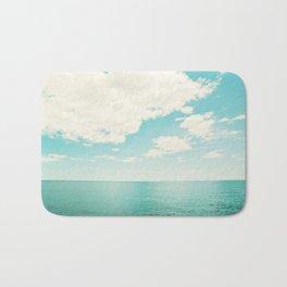 Turquoise Ocean Landscape Art, Aqua Blue Seascape Photo, Teal Sea Horizon Photography Bath Mat