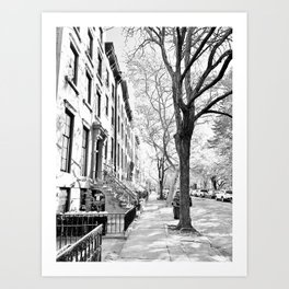 Cobble Hill Brooklyn Winter Black and White Brownstone Art Print