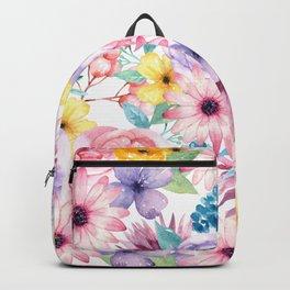 Modern elegant pink lavender yellow watercolor floral Backpack