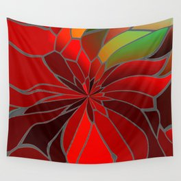 Abstract Poinsettia Wall Tapestry