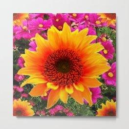 ABSTRACT GOLD SUNFLOWER FLOWERS ART Metal Print
