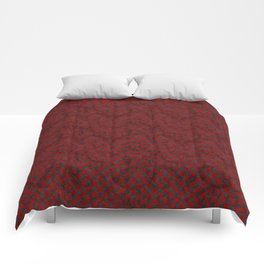 Retro Check Grunge Material Red Black Comforters