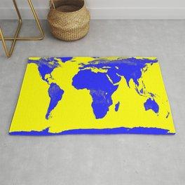 World Map Yellow & Blue Rug