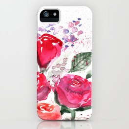 Abstract Watercolor Red Roses iPhone Case