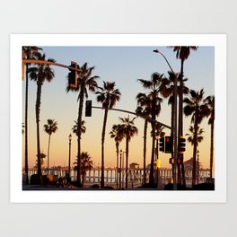 Huntington Beach Summer Sunset at the pier Art Print