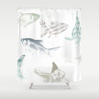 goldfish Shower Curtains featuring goldfish by Studio ReneeBoute