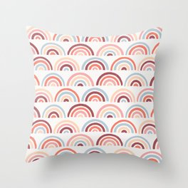 Stamped Rainbows - Maroon Throw Pillow