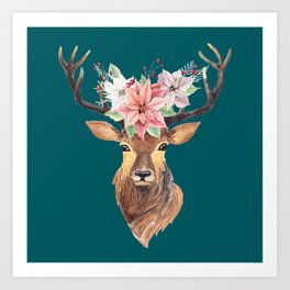 Winter Deer Teal Art Print