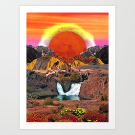 Summer orange sunset Art Print