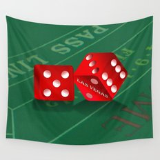 Craps Table & Red Las Vegas Dice Wall Tapestry