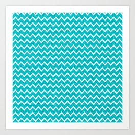 Teal Turquoise Blue Chevron Zigzag Pattern Art Print