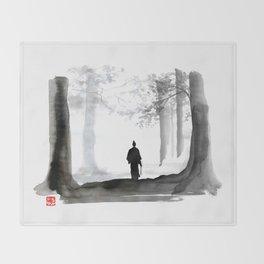 samurai back home Throw Blanket