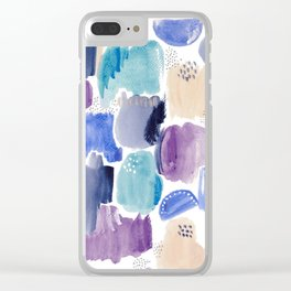 Marking making abstract pattern - deep blue purple peach and teal Clear iPhone Case