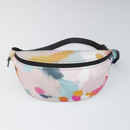 Misty Blooms- abstract - blue , pink and yellow Fanny Pack