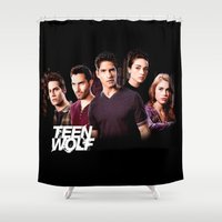 teen titans Shower Curtains featuring teen wolf by kikabarros