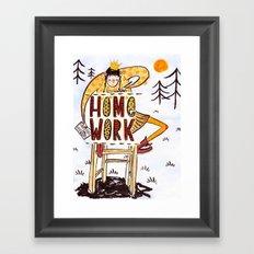 Do your homework outside Framed Art Print