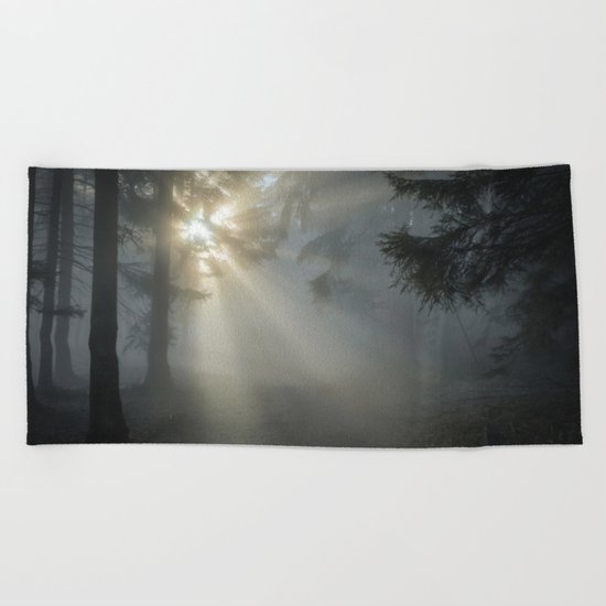 Winter Sunrise in the Forest Beach Towel