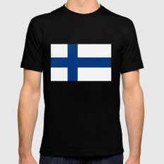 National flag of Finland Mens Fitted Tee Black MEDIUM