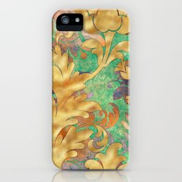 Jungle Floral Neck Gator Teal Gold and Purple Jungle Flowers iPhone Case