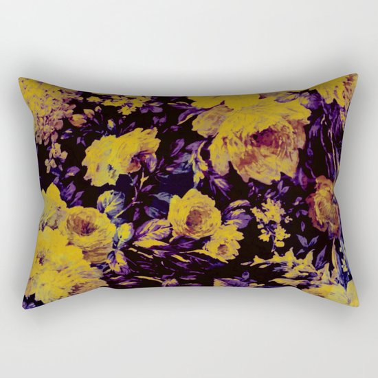 bright floral in yellow and purple Rectangular Pillow